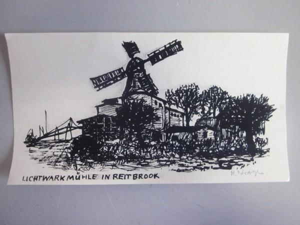 Hans Wrage Holzschnitt - Lichtwark Mühle in Reitbrook
