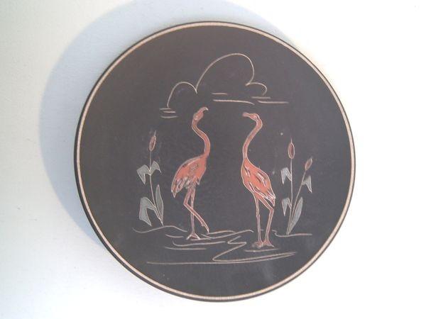 Ruscha Wandteller mit Flamingomotiv