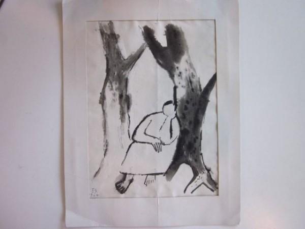 Tuschzeichnung 'Schlafende' - Ernst Schromm 1964