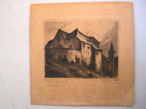 Radierung Rothenburg Kloster - Willi Foerster