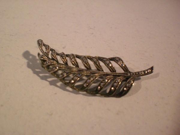 Art Deco Brosche Silber 835 mit Markasiten