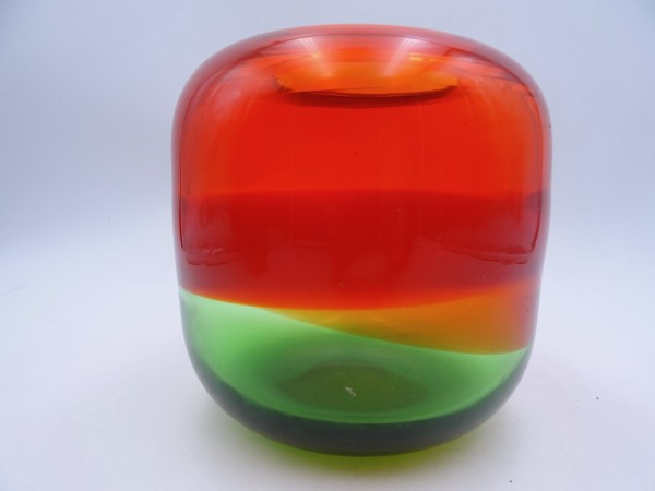 Große Glasvase Vase Glas Kristallglas Kunstglas orange grün 70er Design