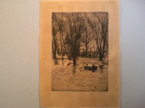 Radierung 'Boote im Spreewald' - Ernst Oppler