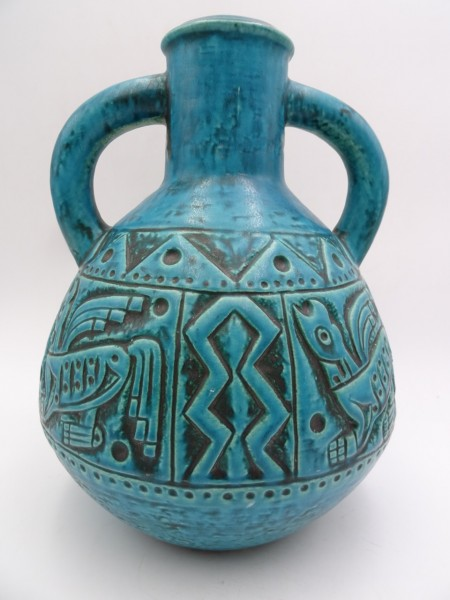 Jasba Vase Azteken Aztec 70er türkis midcentury modernist Keramik Vase Keramikvase