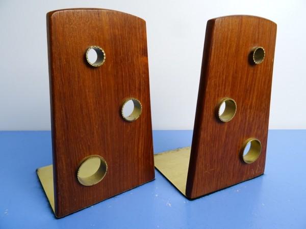 Hein Matten - sehr seltene Buchstützen Teak Messing Art Decó Bauhaus
