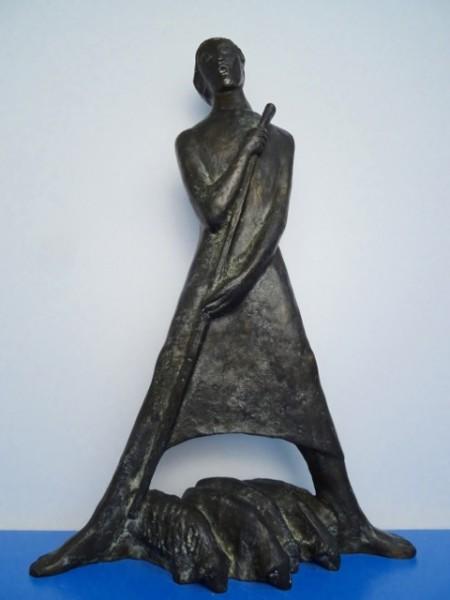 Bronzeplastik Josef Fischedick Johannes Fischedick Schäfer 47 cm