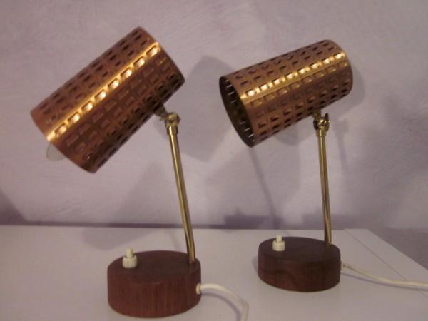 Zwei ausgefallenen Tischlampen Kupfer und Teak 50er