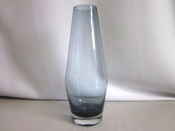 Hohe Glasvase mit blauem Innenfang - 60s
