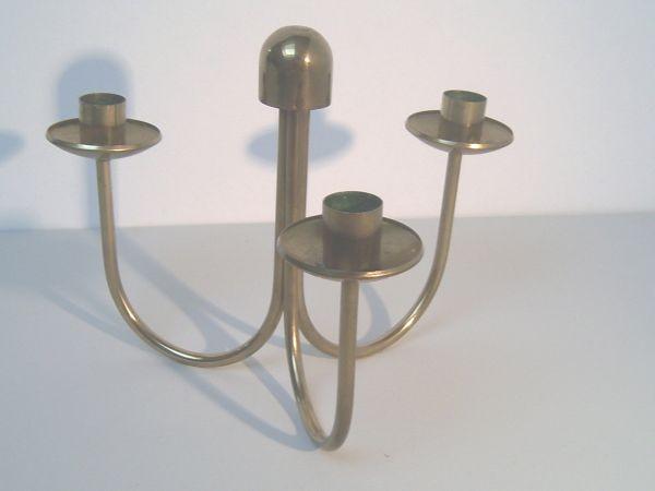 Dreiarmiger Tischleuchter, vermessingt