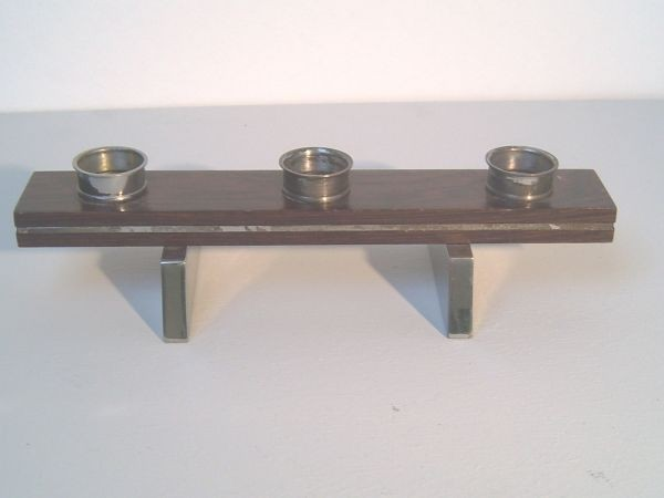 Tischkerzenständer Metall/ Palisander - 70er-Jahre
