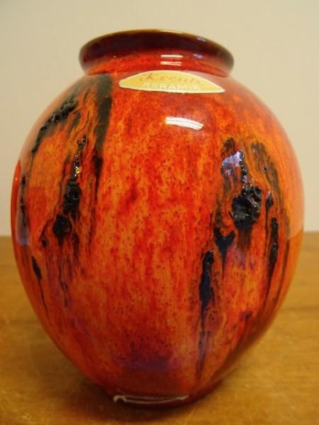 Kreutz Vase Keramikvase fat lava 60er 70er Keramik orange schwarz klasse Design