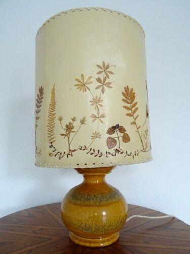 Großer Tischlampe Keramik 70er Lampe Keramiklampe gelb original Schirm selten designclassics24
