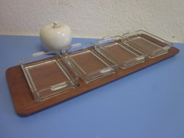 Digsmed Tablett Teak mit Glasschalen