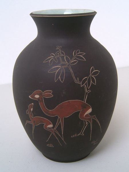 Arno Kiechle Classical Vase With Carved Decor 1950s 1960s
