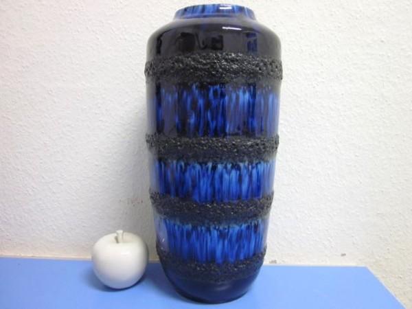 Grosse Bodenvase Scheurich blaue Lava 60er 70er Design WGP