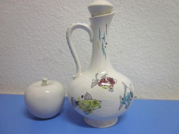 Ulmer Keramik Flasche mit Fischen 50er