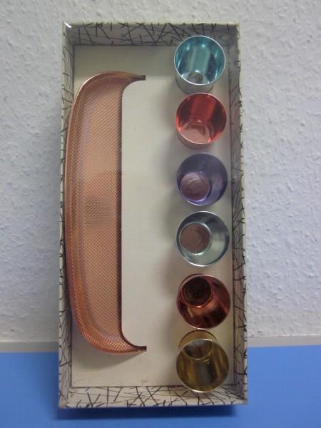 Emka Palette - sechs Schnapsbecher Alu originalverpackt 50s