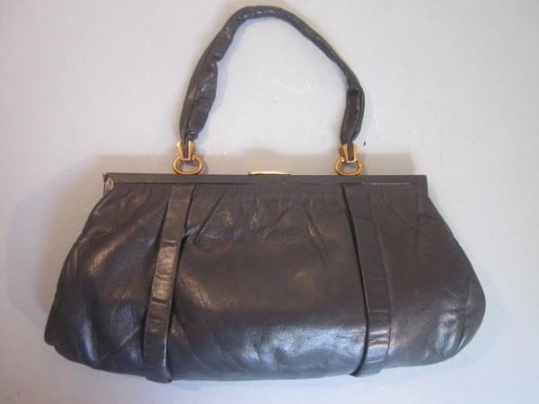 Grosse Art Decó Handtasche aus butterweichem Kalbsleder