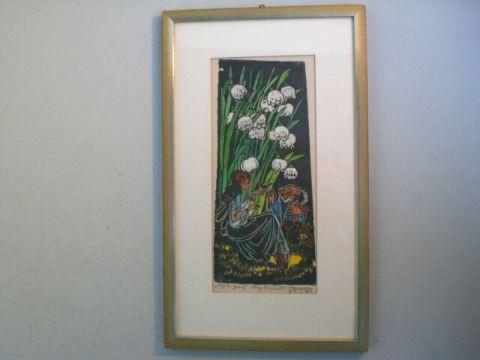 Farbholzschnitt 'Elfe und Zwerg' - Marianne Stuwe