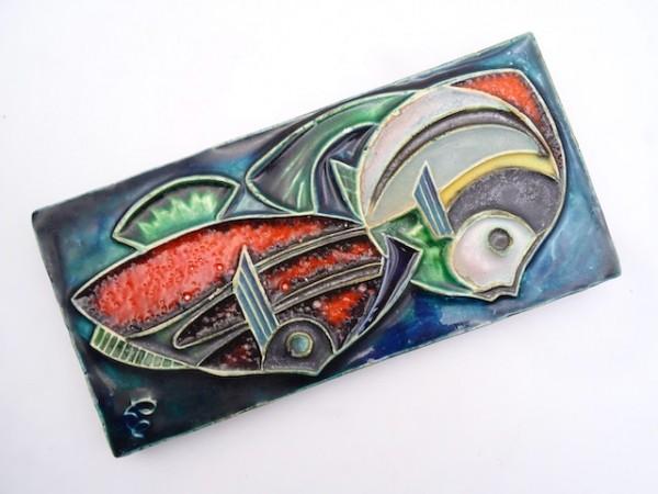 Helmut Schäffenacker Wandbild FISCHE Wandplatte Keramikbild Wandbild Wandrelief Keramik 70er designc