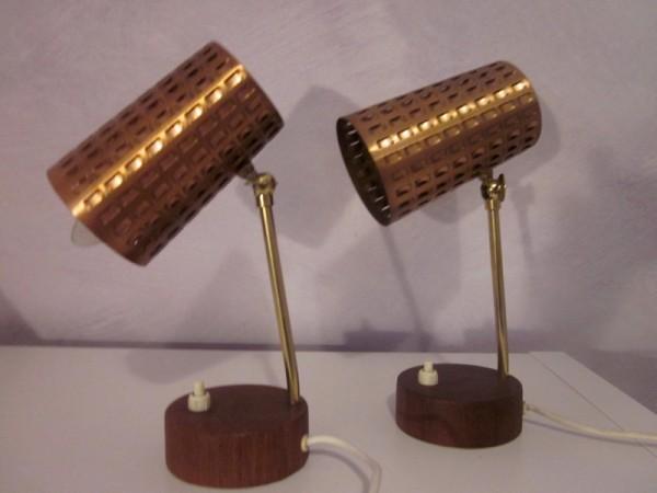 Zwei Tischlampen Teak und Kupfer 1960er-Jahre