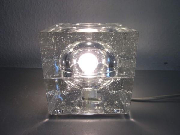Kubische Tischlampe Glas Italien 60er 70er Stil Peill