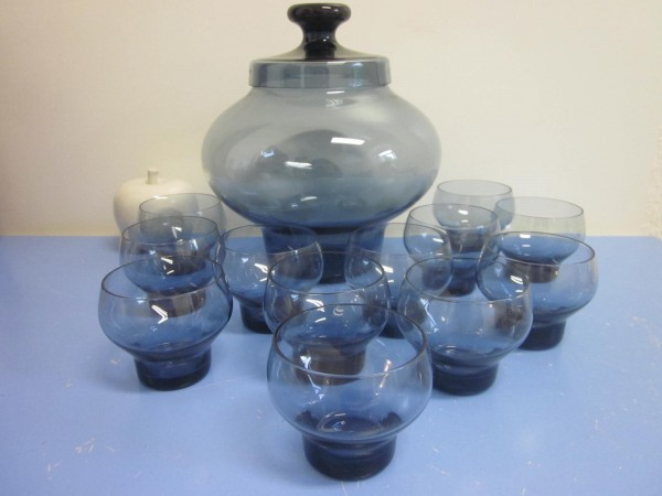 Driburg Kristall Bowle mit 12 Gläsern