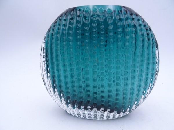 Ingridglas grüne Vase mit Reliefstruktur Kristall 70er