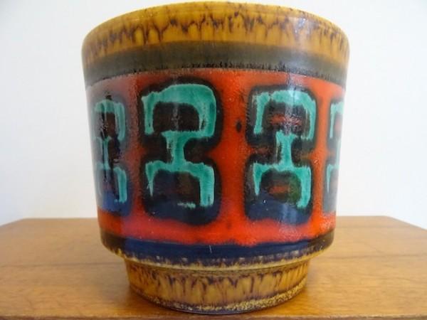60er 70er Übertopf Keramik Fohr grafisches Dekor midcentury modernist design