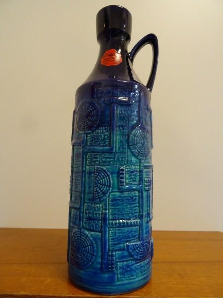 Bay Keramik große Vase Keramikvase Dekor Narvik blau 35 cm selten era Bodo Mans